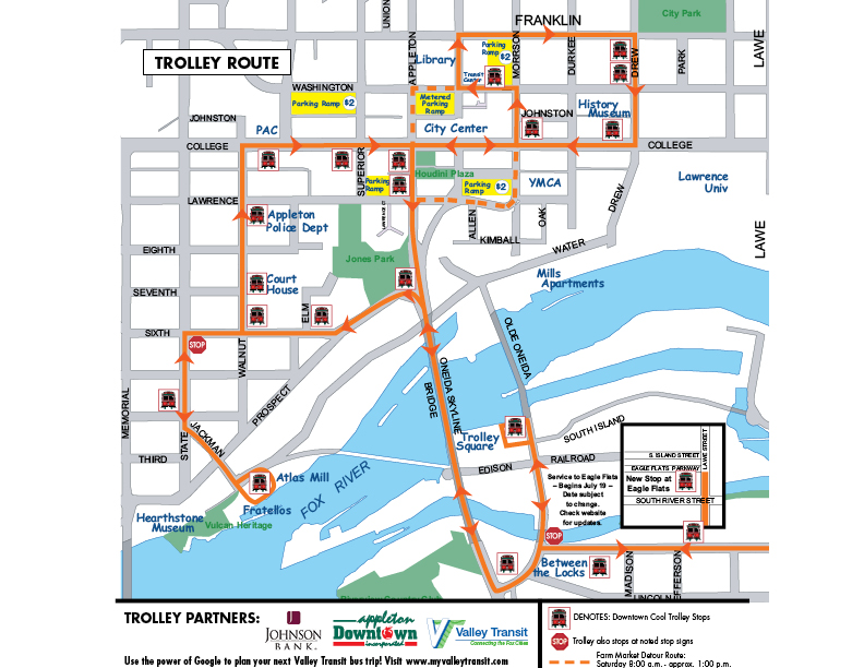 Downtown Appleton Trolley Route Map Appleton Downtown