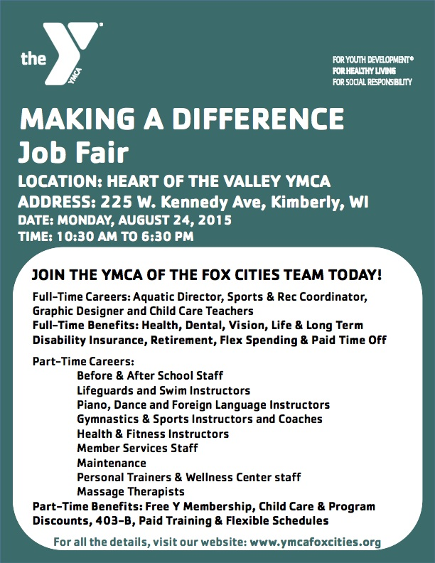 YMCA of the Fox Cities Job Fair 2015 - Detailed for Email